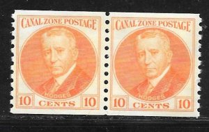 Canal Zone 161: 10c General Hodges, coil pair, MNH, VF