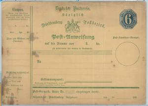 66750 - GERMANY Württemberg - Postal History - STATIONERY Money Order A2