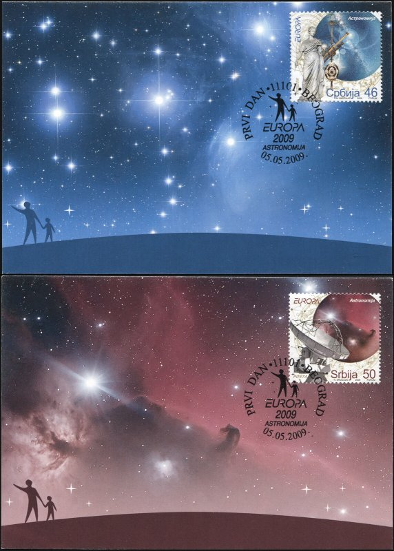 Serbia. 2009. Europa - Astronomy (Mint) Set of 2 Maxi Cards