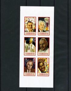 Turkmenistan 1999 POPE JOHN PAUL II EINSTEIN DISNEY Sheet Imperforated Mint (NH)