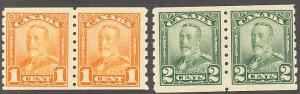 Canada #160-61 Mint  F-VF pairs NH -  Lakeshore Philatelics