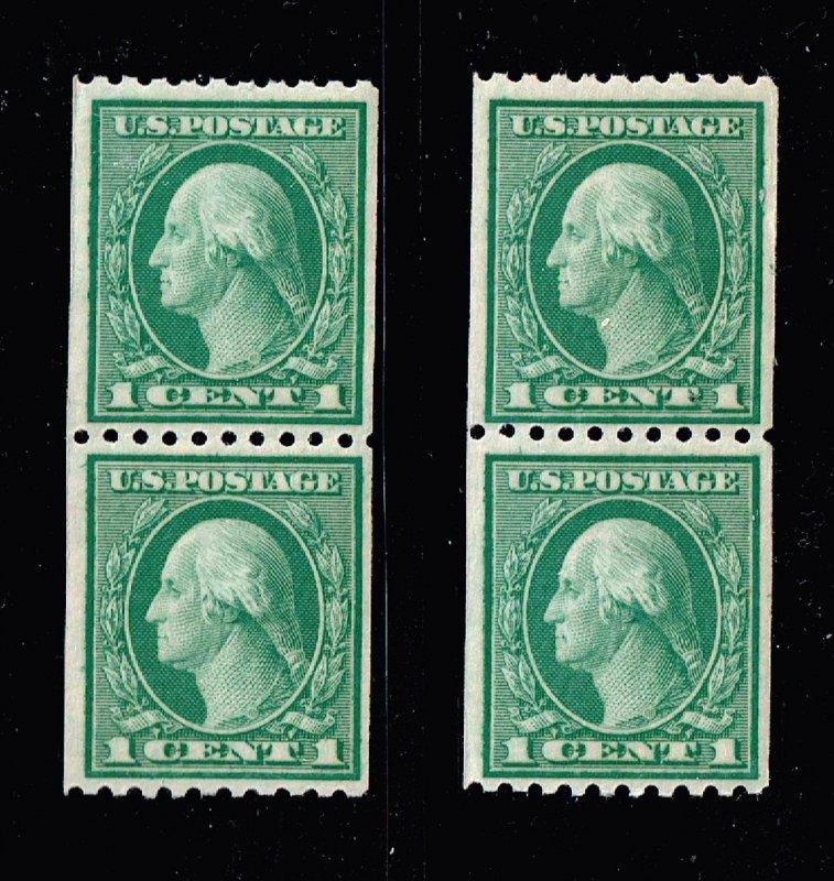 US STAMP #486 – 1918 1c Washington, green  MNH/OG PAIR X 2