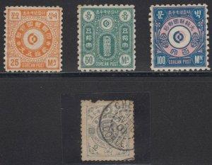 KOREA 1884-1900 Sc 18 & Unlisted Yvert 3-5 UNUSED OR USED
