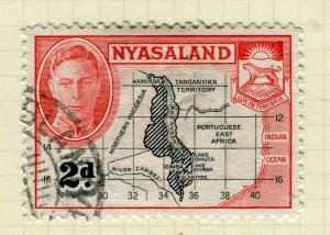 NYASALAND; 1945 early GVI issue fine used 2d. value