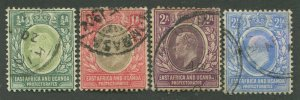 EAST AFRICA & UGANDA PROTECTORATES #1-4 USED F/VF