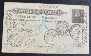 1889 Buenos Aires Argentina Postal Stationery Postcard  Cover To Paraguay