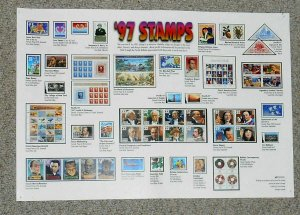 1997 stamp flyer USPS 11 X 16 full year stamp commemorative issues