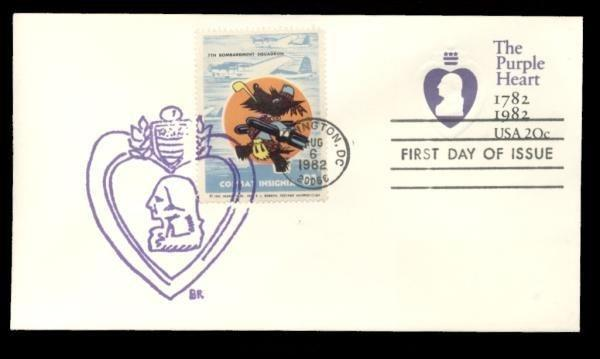 7th Bombardment Squadron Poster Stamp on Purple Heart #U603 FDC