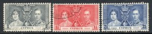 Cyprus 1937 Coronation set SG 148-150 used