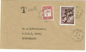 Seychelles 1952 Victoria cancel on local cover, short paid, postage due affixed