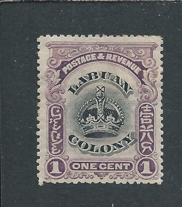 LABUAN 1902-03 1c BLACK & PURPLE PERF 14½-15 MM SG 117a CAT £100