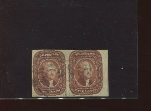 Scott 12 Jefferson Used Imperf Margin Pair of 2 Stamps w/ PF Cert (Stock 12-pf1)