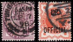 Great Britain Scott O4, O11 (1882, 1888) Used VF, CV $7.50 B
