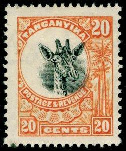 TANGANYIKA SG77, 20c orange, M MINT.