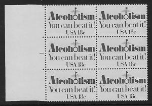 Catalog #1927 Plate Block of 6 Stamps Alcoholisim You Can beat It