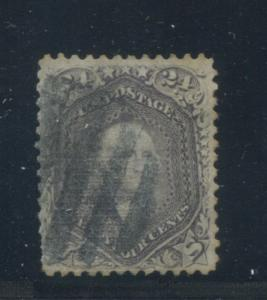 1869 US Stamp #99 24c Used Fine Grid Cancel Catalogue Value $1500 Certified