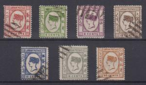 BC LABUAN 1892 QV Sc 33-39 FULL SET OF FORGERIES USED F,VF (CV$137)