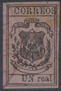 DOMINICAN REPUBLIC 1870-73 COAT OF ARMS Sc 30 PLATE FLAW USED SCARCE €42.50+