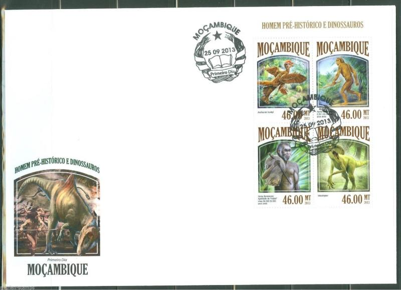 MOZAMBIQUE  2013  PRE- HISTORIC MAN & DINOSAURS  SHEET FIRST DAY COVER