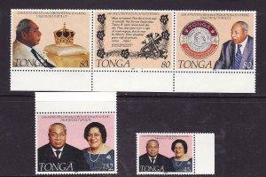 Tonga-Sc#819-21- id2-Unused NH set-King Tauta'ahau-25th Coronation-1992-