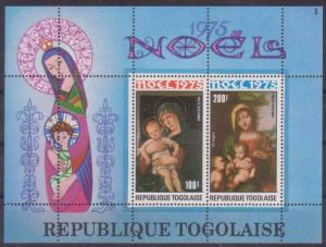 Togo #C269a YTBF89 MNH S/S CV$6 Christmas 1975 - Madonnas (Belline/Correggio)