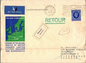 England > Scandinavia Airmail Opening cachet cover 1936 returned unknown