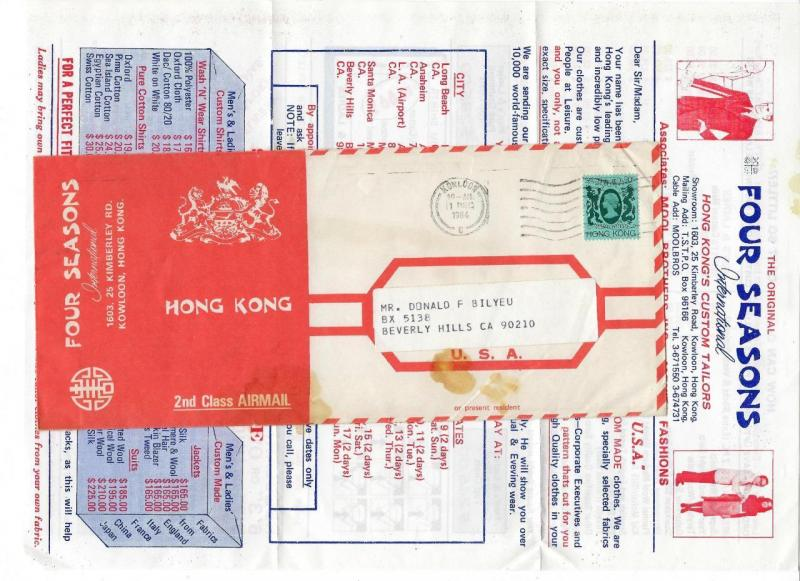 1984 British Hong Kong To USA Ad Cover With Insert (LL30)