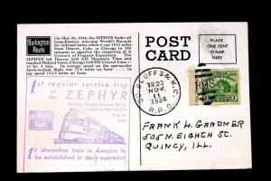 US STAMP Sc# 730a on Post Card 1st Reg. Service Trip of Zephyr Lincoln, Omaha
