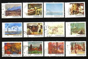 CANADA DAY 1982 SET STAMPS ON PAINTINGS USED LOT#147