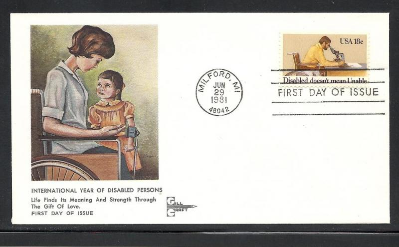 US #1925 Disabled Persons Gill Craft cachet unaddress
