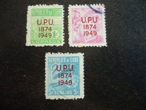 Stamps - Cuba - Scott#449-451 - Used Set of 3 Stamps - Overprinted UPU