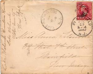 United States New Jersey Lake Hopatcong 1890 target  2c Washington Small Bank...