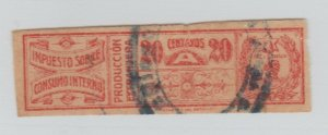 Paraguay revenue fiscal stamp 4-14- Better item