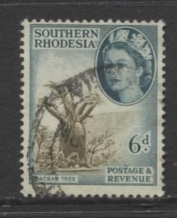 Southern Rhodesia- Scott 87 - QEII Definitives -1953 - Used- Single 6d Stamp