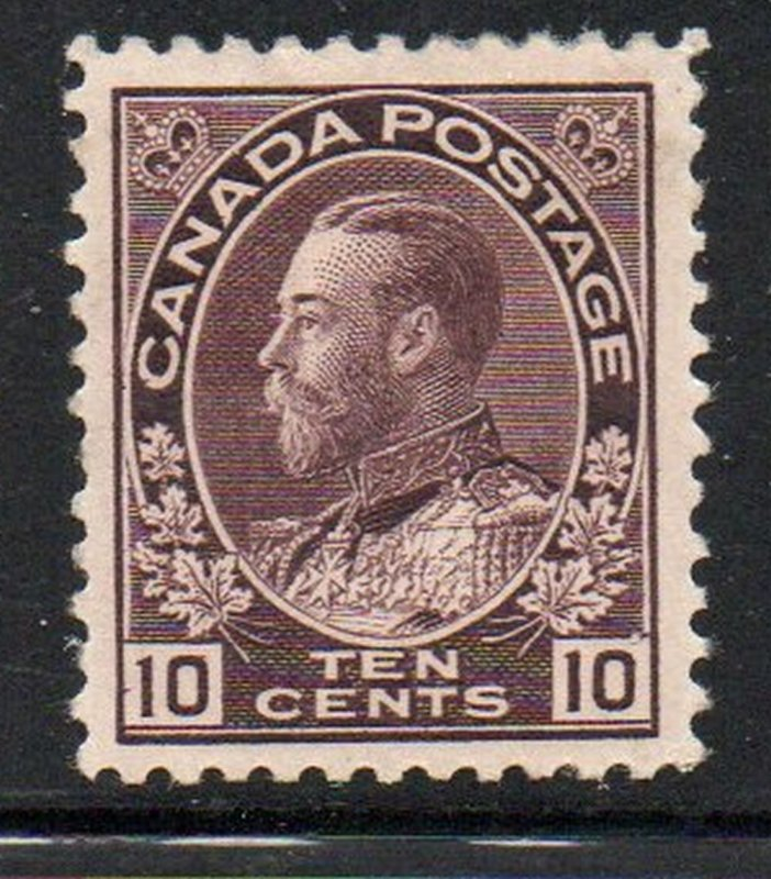 Canada Sc 116 1912 10c plum G V Admiral stamp mint