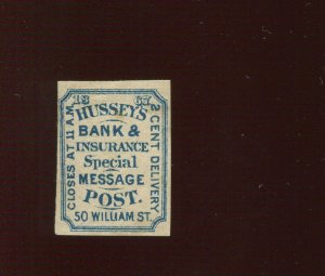 87L39 Hussy's Post New York  Unused  Stamp (Bx 355)