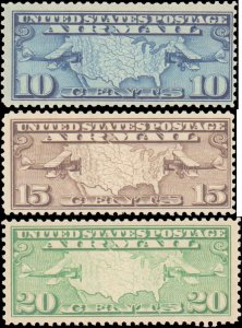 United States #C7-C9, Complete Set(3), 1926-1927, Airplanes, Never Hinged