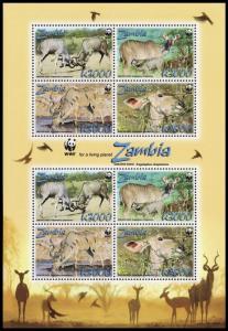 Zambia WWF Greater Kudu Sheetlet of 2 sets SG#MS1054 MI#1606-1609 SC#1103a-d