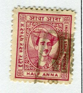 INDIAN STATES; INDORE 1940-46 early local issue fine used. 1/2a. value