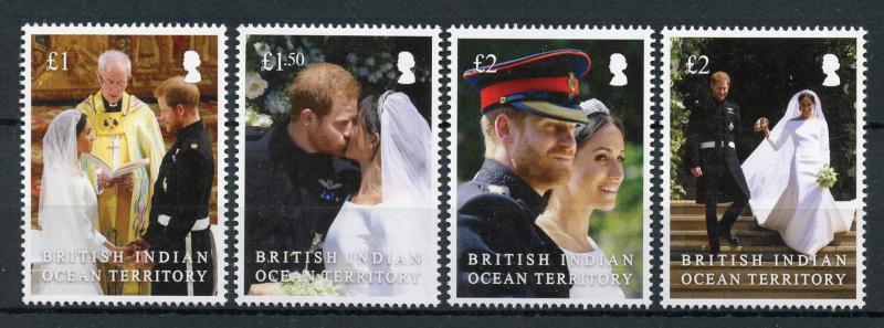 BIOT 2018 MNH Prince Harry & Meghan Royal Wedding 4v Set Royalty Stamps