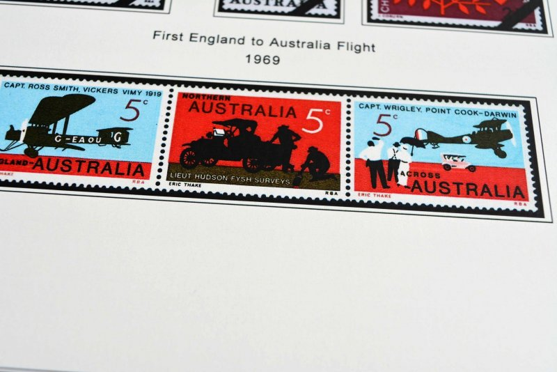 COLOR PRINTED AUSTRALIA 1913-1975 STAMP ALBUM PAGES (61 illustrated pages)