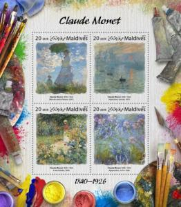 MALDIVES - 2017 - Artists : Claude Monet - Perf 4v Sheet - MNH