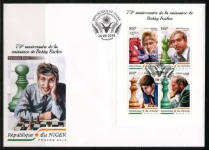 NIGER  2018 75th BIRTH ANNIVERSARY OF BOBBY FISCHER  SHEET FIRST DAY COVER
