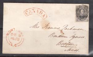 Canada #2 Used On Cover To Boston USA **With Certificate**