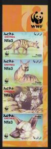 Eritrea WWF Aardwolf 4v Right Imperforated strip WWF Logo SG#488-491