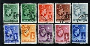 VIRGIN ISLANDS KG VI 1938-47 Definitive Part Set SG 110 to SG 120 VFU