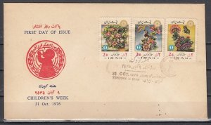 Persia, Scott cat. 1920-1922. Children`s Week. Flowers shown. First day cover.