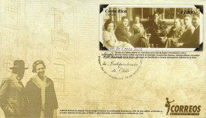 COSTA RICA CHILE INDEPENDENCE BICENTENARY ANNIVERSARY, MENA EN40, FDC 2010
