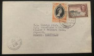 1953 Zomba Nyasaland QE 2 Coronation First Day Cover Queen Elizabeth To Sydney