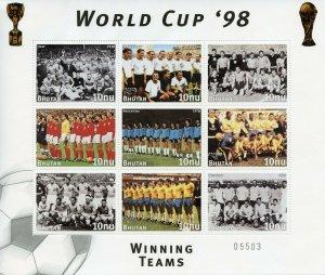Bhutan 1997 MNH France 1998 World Cup Football England 9v M/S Sports Stamps